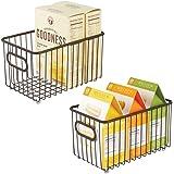 mDesign Metal Farmhouse Kitchen Pantry Food Storage Organizer Basket Bin - Wire Grid Design - for Cabinets, Cupboards, Shelve