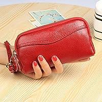 財布 女性のハンドバッグ財布のハンドバッグダブルジッパー女性 レジャー財布 ( Color : 赤 )