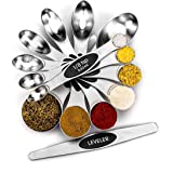 Stainless Steel Measuring Spoons Set, Magnetic 8pcs Metal Measurement tbsp Set, Multifunctional Teaspoon and Tablespoon Dual