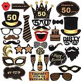 ToParty 50歳の誕生日 写真ブース小道具 ブラック&ゴールド 50歳の誕生日パーティーデコレーション