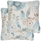 Mika Home Pack of 2 Decorative Throw Pillows Cases Cushion Cover Sofa Couch Bed,Sunflower Pattern,20x20 Inches,Blue Cream