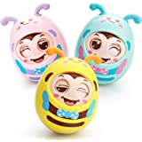 Roly-Poly Toys Baby Infant Newborn Tumbler Egg Toys Blink EyesTeether Toys for Toddlers w/ Belling Color Randomly