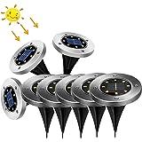 Landvand Solar Powered LED Buried Inground Lights Recessed Garden Solar Embedded Underground Lights IP65 Cool white Waterproo