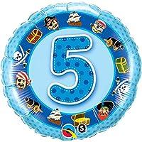 Qualatex 18インチ5海賊デザイン円形ホイルバルーン(サイズ1歳(ブルー)