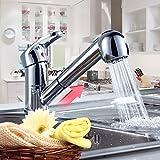 Auralum 伸縮 ハンド シャワーノズル シングルレバー 混合水栓 キッチン 洗面用 伸縮ノズル シャワーヘッド 水道 蛇口 取り付けホース リノベーション