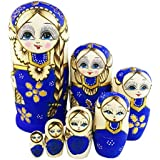 Set of 7 Blue Cute Little Girl With Big Braid Handmade Matryoshka Dolls Russian Nesting Dolls Wooden Kids Gifts Toy Gift Christmas Birthday New Year Present Home Decoration Perfect Mother's Day Gift