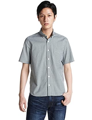 Short Sleeve Pinpoint Oxford Gingham Buttondown Shirt 3216-166-0319: Dark Green