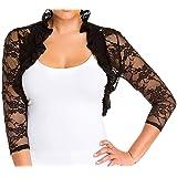 Fashion Secrets Women`s Ruffle Collar 3/4 Sleeve Smocked Lace Bolero Shrug Cardigan Top