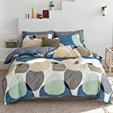 MKXI White and Green Cool Bedding Duvet Cover Set for Tropical Style Bedroom Tree Leaves Men Bedding Stylish Luxury King Bed