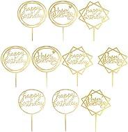 ケーキトッパー 10枚セット ケーキ挿入カード お誕生日おめでとう 飾り付け ゴールドケーキトッパー パーティー装飾 ケーキ装飾用品 ハッピーバースデー