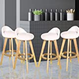4X Leather Swivel Bar Stool Kitchen Stool Dining Chair Barstools Cream Ivory Leather