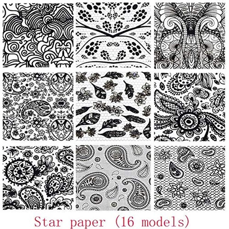 好み広大な定数SUKTI&XIAO ネイルステッカー ネイルアートパターンフローラルローズトーテムアートスターペーパーツール