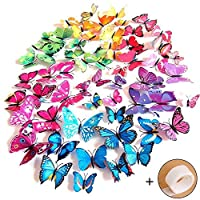 imbry 72 pcs 3d colorful removable butterfly wall stickers diy art