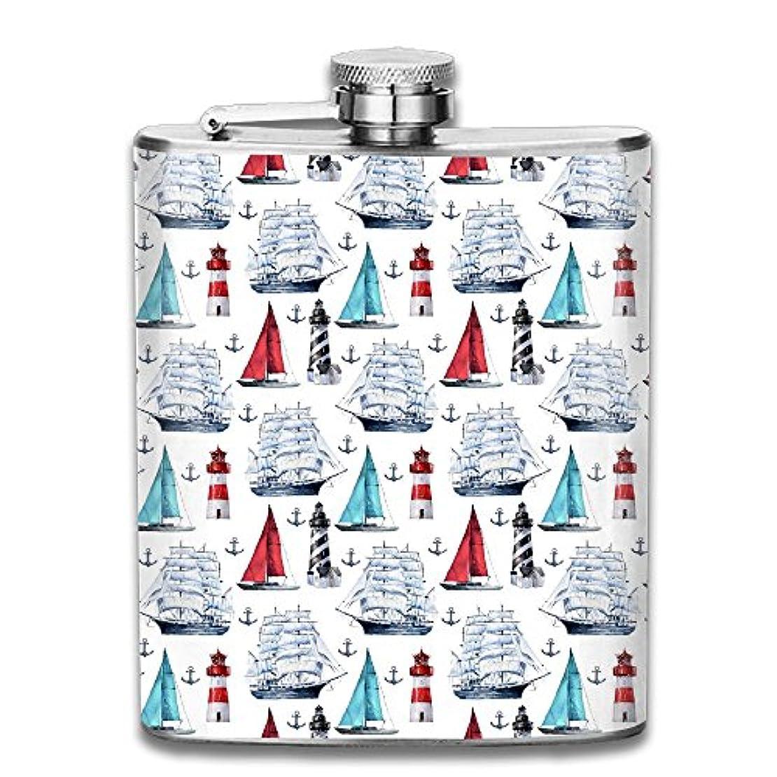シーン酸化するに頼る船と灯台 フラスコ スキットル ヒップフラスコ 7オンス 206ml 高品質ステンレス製 ウイスキー アルコール 清酒 携帯 ボトル