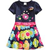 JUXINSU Cotton Girl Flowers Short Sleeve Summer Dresses Girls 3-8 Years