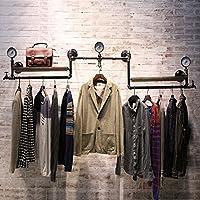 浮遊式棚 コートラック衣料品店ハンガーディスプレイスタンドレトロ古い固体パイプライン棚衣類ラックの壁ハンガー(サイズ:215センチメートル) 工業用壁フレーム