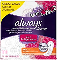 Always Discreet, Incontinence Liners, Very Light, Long Length, 111 Count, 111 Count by Always