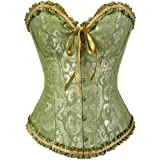 SHYMMUO Women's Lacing Corset Top Satin Floral Boned Overbust Body Shaper Bustier Green M