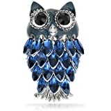 Lucky Large Fashion Animal Blue Crystal Enamel Wise Bird On Branch Scarf Owl Brooch Pin for Women Rhodium Plated