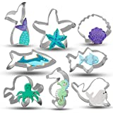 Bonropin Under The Sea Creatures Cookie Cutter Set - 8 Piece Stainless Steel Cutters Molds Cutters for Making Shark, Mermaid