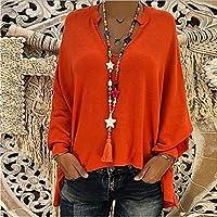 Honghuの女性の緩いVネック長袖シャツバットウィングスリーブプルオーバートップス赤3 XL