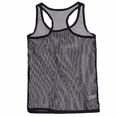 (イーエフイー)EFE メンズ 男性 大人 タンクトップ メッシュ シースルー Tシャツ ブラック XL