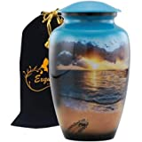 Exquisiteurn's Hand Painted Cremation Urn - Adult Cremation Urn - Handcrafted Funeral Urn for Ashes - Metal Cremation Urn - G