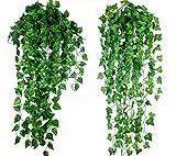 ROZZERMAN 観葉植物 人工 アイビー 縦90cm セット 壁掛け インテリア 雑貨 造花 壁掛 植物 吊り g111 (2本組セット)