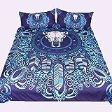 3D効果動物の羽毛布団カバーピローキルト紫と青の通気性(シングルダブルクイーンキング)3つの完全な寝具セット,220*240Cm Rventric