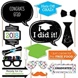 Hats Off Grad - 2018 Graduation Party Photo Booth Props Kit - 20 Count [並行輸入品]