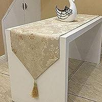 おしゃれ テーブル ランナー 空間 モダン インテリア リビング おもてなし アジアン ラグ 刺繍 カバー リネン 寝室 ベッド クロス 北欧 タッセル 付き (180×33cm, ゴールド)