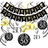Konsait 50th Birthday DecorationsキットCheers to 50年バナーSwallowtail Bunting Garland Sparkling Celebration 50 Hanging Swirls、完璧50 Years OldパーティーSupplies 50th Anniversary Decorations