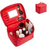EN'DA Cosmetic Travel Case with quality zipper Large Makeup bags,portable toiletry bag Christmas Gift(Red)