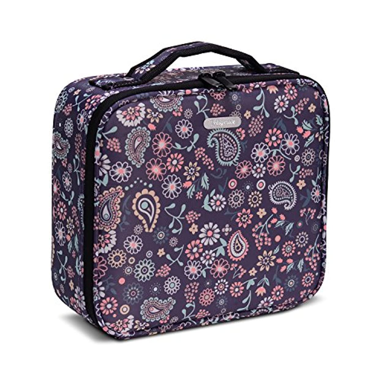 Hapilife メイクボックス プロ用 コスメボックス 大容量 軽量 メイク道具 化粧品収納 小物入れ 持ち運び 3way 収納ケース 調整仕切り板(紫の花)