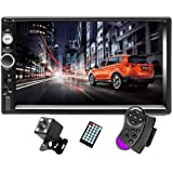 """CAMECHO 7"""" Double Din Car Stereo Audio Bluetooth MP5 Player USB FM Multimedia Radio+ 4 LED Mini Backup Camera with Steering W"""