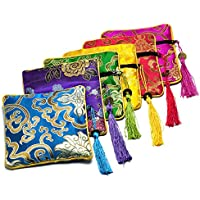 Gikfun Embroidered Jewelry Pouch Bag Coin Purses Xmas Gift Bag Zipper Pocket (Pack of 6PCS) EK8466