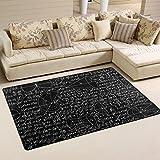 バララ(La Rose) ラグ カーペット マット 洗える おしゃれ 滑り止め 絨毯 黒い 数学記号 数式計算式 絵柄 ホットカーペット ウォッシャブル 心地よいサラふわ触感 折り畳み可 床暖房 対応 約幅79x51cm