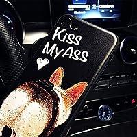 iphone6s ケース iphone6 ケース アイフォン6sケース アイフォン6 カバー スマホケース 保護カバー 背面カバー 浮き彫り ストラップ付き シリカゲル 犬 Kiss MyAss かわいい ブラック