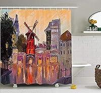 ヨーロッパの街並みの装飾コレクション、パリのムーランルージュの絵画恋愛中心地フランスフランスアートプリントホーム、ポリエステルファブリックバスルームのシャワーカーテン、84インチエクストラロング、マルチ