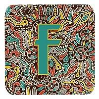 Carolines Treasures cj2013-ffc文字FレトロトライバルAlphabet Initial Foamコースター、セットの4