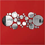 DIY Mirror Wall Sticker, OMGAI Removable Round Acrylic Mirror Decor of Self Adhesive Circle for Art Window Wall Decal Kitchen