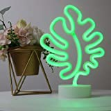 Leaf Neon Signs Room Decor Battery or USB Powered Art LED Decorative Lights with Base Night Lights Indoor for Home, Bedroom,