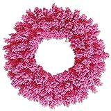 Best Vickermanクリスマスツリー - Vickerman K128830 Unlit Flocked Pink Fir Artificial Wreath Review