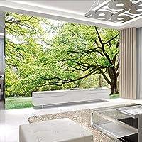 Wuyyii 壁画壁紙3Dカットストーム写真の壁紙現代壁オークツリービュー3Dリビングルームベッドルームホテル-250X175Cm