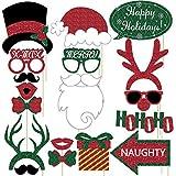 グリッタークリスマス写真ブース小道具キット – Lサイズ、DIY不要、21ピース – 楽しいクリスマスパーティー用品