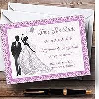 ピンククラシックヴィンテージPersonalized結婚を保存日付カード 10 Invitations