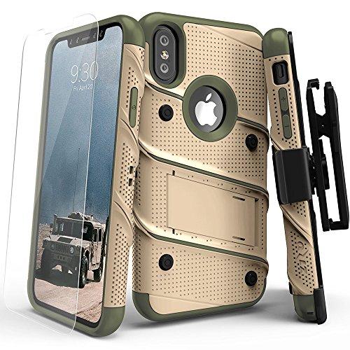 Zizo Bolt Case For iPhone X ボルト ケース カバー 耐衝撃 スタンド ホルスター 付き 強化ガラス 極薄 0.33mm 硬度 9H 液晶 保護フィルム 付属 【正規代理店品 】 デザートタン/カモグリーン