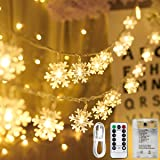 Areskey LEDスノーフレークライト 雪片イルミネーションライト クリスマスライト 10M 80個の雪の飾り ストリングライト 80個LEDs電球 スノーフレークオーナメント フェアリーライト ジュエリーライト 電飾 単三電池式3本、USB式