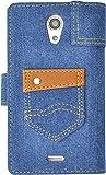 PLATA Xperia エクスペリア UL SOL22 用 ポケット 付き デニム ケース ポーチ 手帳型 カバー  【 ブルー 青 あお blue 】 ASOL22-95-A
