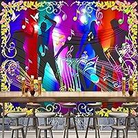 Xbwy カスタム壁画壁画カスタムHdクールダンスファッションカラフルなメモKtvバーの背景壁ナイトクラブ壁紙壁画-400X280Cm